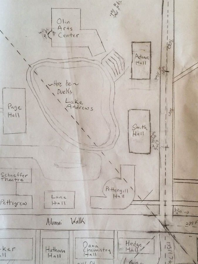 """""""Here be ducks"""": A detail from a map of the Bates campus by students in the course """"Innovations in Mapping: From Paper to Pixels."""""""