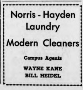 Wayne Kane '59 and Bill Heidel '59 ran the student laundry service for Norris-Hayden Laundry of Auburn.