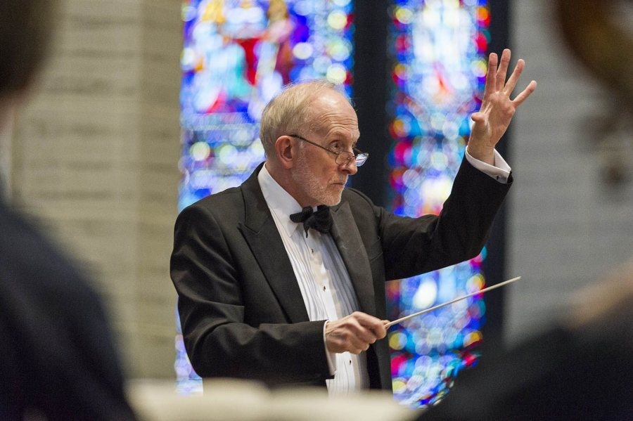 John Corrie conducts the Missa Solemnis, a landmark in Maine music-making in the Basilica of Saints Peter and Paul on April 3, 2016. (Josh Kuckens/Bates College)