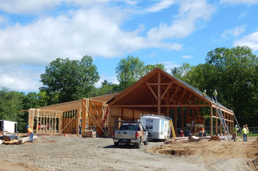 The new boathouse under construction on June 8, 2016. (Doug Hubley/Bates College)
