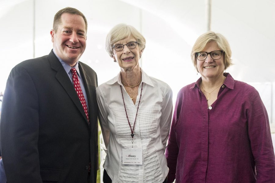 Diane Felt Swett '56 (center), recipient of a Bates' Best Award at Reunion on June 11, poses with President of the Alumni Association Michael Lieber '92 and President of Bates College Clayton Spencer. (Josh Kuckens/Bates College)