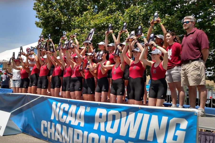 In late May, the women's second varsity eight won its third straight gold medal at this year's NCAA Rowing Championships. As a team, Bates finished second to national champion Wellesley. (Aaron Morse/Bates College)