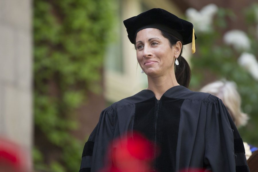 Author Lisa Genova '92 received an honorary Doctor of Humane Letters degree at Commencement in 2016. (Phyllis Graber Jensen/Bates College)