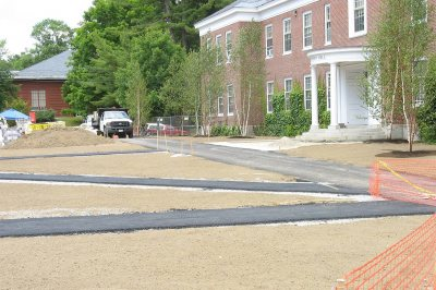 New paving marks paths that criss-cross Alumni Walk in this view facing west. (Doug Hubley/Bates College)