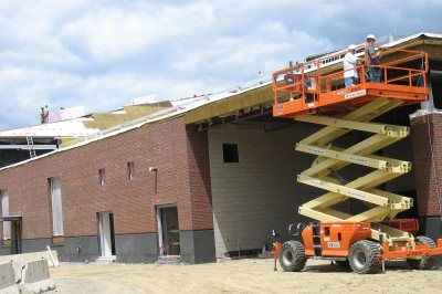 Bricks and contrasting granite on the new Commons' south wall. (Doug Hubley/Bates College)