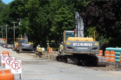 Shown here on June 30, 2016, St. Laurent & Sons Excavation will be replacing city sewers and repaving Campus Avenue during most of July. (Doug Hubley/Bates College)