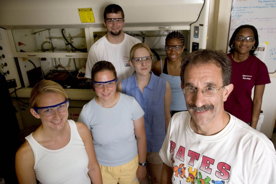 In this 2007 file image, Tom Wenzel is shown with student researchers in his Dana Chemistry lab. (Phyllis Graber Jensen/Bates College)
