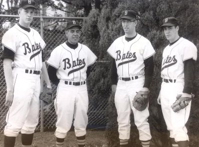 Thom Freeman '63 poses with head coach Chick Leahey '53, slugger Howard Vandersea '63, and (Muskie Archives and Special Collections Library)