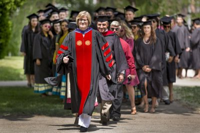 "Gifts by Bates donors totaling a record $28.2 million  in fiscal 2016 have ""given us great confidence in setting ambitious goals for Bates' future,"" said President Spencer. (Phyllis Graber Jensen/Bates College)"