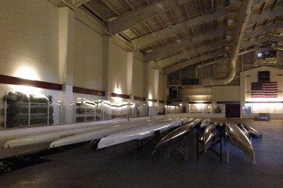 The Bates rowing fleet was stored at Underhill Arena while the college was between boathouses in July 2016. (Doug Hubley/Bates College)
