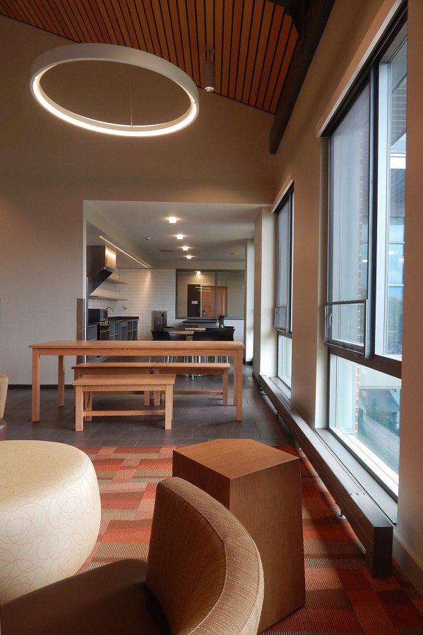 A view into the 65 Campus kitchen from the Treehouse. (Doug Hubley/Bates College)