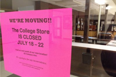 Now closed and all but empty of merchandise, the old College Store, in the basement of Chase Hall, is shown on Aug. 3, 2016. (Doug Hubley/Bates College)
