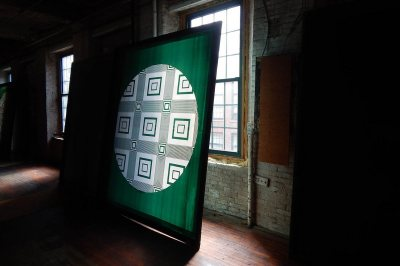 Museum L-A has preserved this silkscreen once used by the Bates Manufacturing Co. to print tablecloths. Bates College used imagery from similar screens to create wall art for two new dormitories. (Doug Hubley/Bates College)