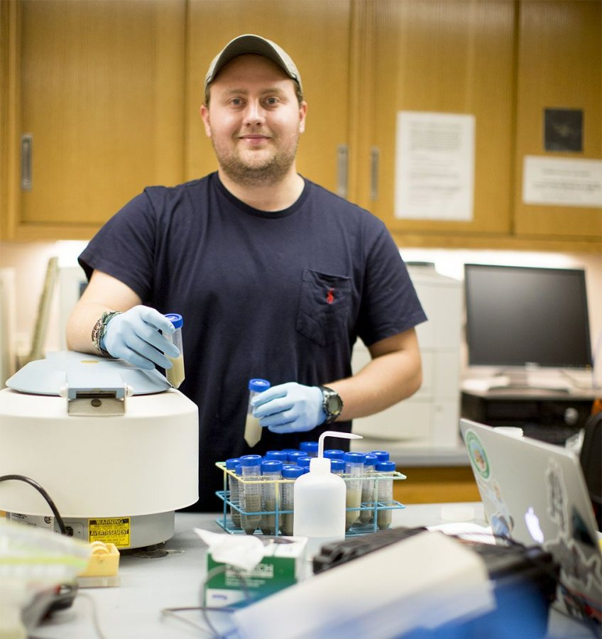 Will Hilton '17 in the lab of Professor of Environmental Studies Holly Ewing. (Phyllis Graber Jensen/Bates College)