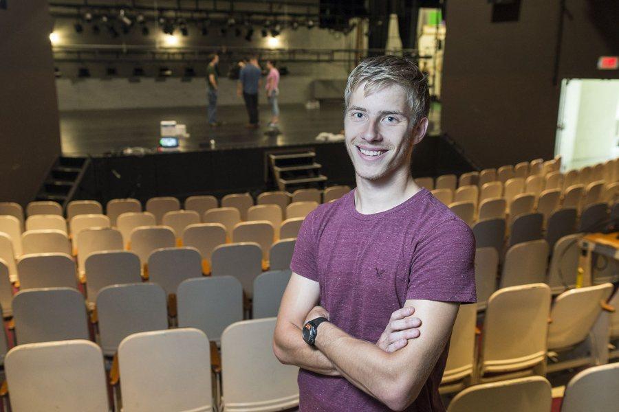 Jason Ross '19 in Schaeffer Theatre. (Josh Kuckens/Bates College)