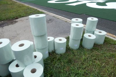 Panels of the GreenFields TX turf were still being placed on Aug. 17, 2016. Slathered with glue, this tape was used to hold the panels together. (Doug Hubley/Bates College)