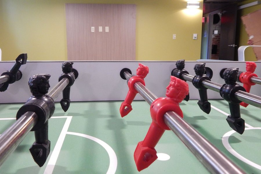 The foosball table is ready for action in a Smith Hall Lounge. (Doug Hubley/Bates College)