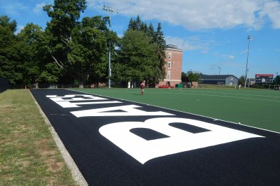There's no doubt whose this new turf this is. (Doug Hubley/Bates College)
