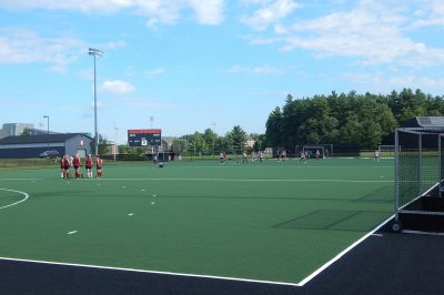 A field hockey practice on the new GreenFields TX turf on Campus Avenue Field on Sept. 1, 2016 . (Doug Hubley/Bates College)
