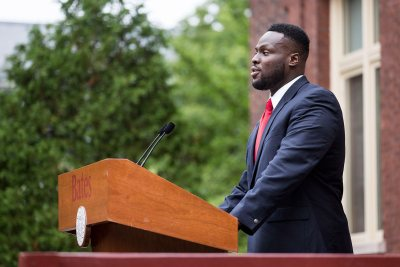 Adedire A. Fakorede '18 of Newark, N.J., president of the Bates College Student Government, greets Bates' newest students during Convocation 2016. (Josh Kuckens/Bates College)