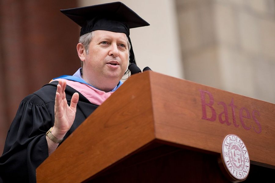 "Dan Gediman, co-creator of the ""This I Believe"" radio and book series, delivers the Convocation address on the historic Quad on Sept. 6, 2016. (Phyllis Graber Jensen/Bates College)"