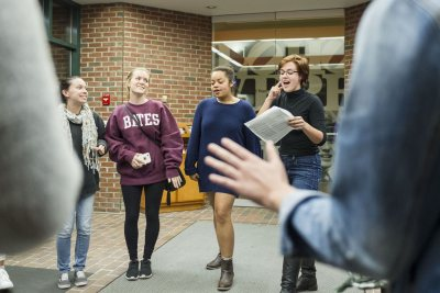 Musical co-director Audrey Burns '17 of Topsham, Maine, encourages the group to listen to each other.