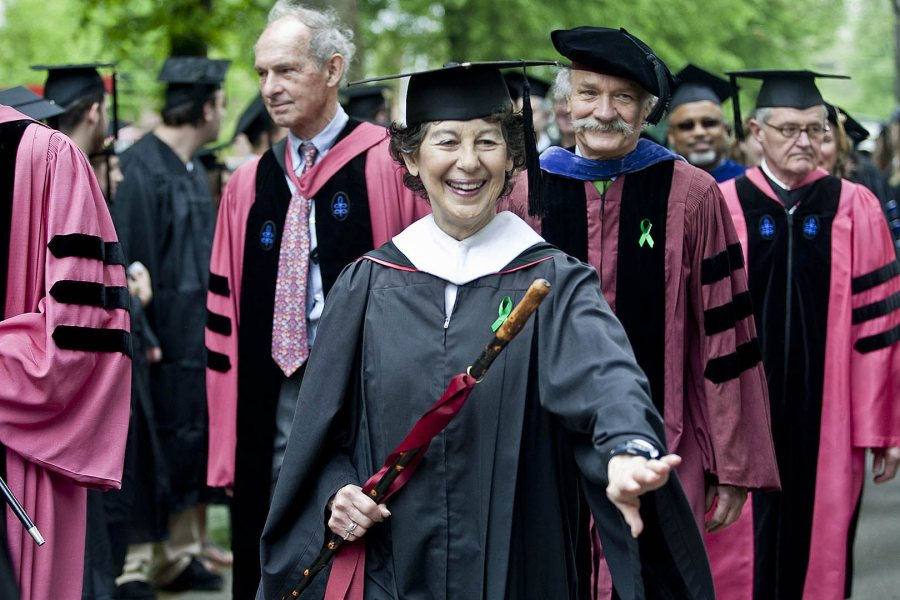 A faculty marshal from 2002 to 2014, Marcy Plavin relished the honor, from organizing her colleagues before the event to leading the faculty procession and helping with the presentation of diplomas, all with grace and energy. (Phyllis Graber Jensen/Bates College)