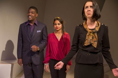 The cast of the Bates mainstage play Tomorrow in the Battle comprises Brennen Malone '17 of Philadelphia, Sukanya Shukla '20 of Gwalior, India, and Christina Felonis '17 of Athens, Greece. (Phyllis Graber Jensen/Bates College)