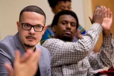 """When I come to speak at colleges, this is what I look forward to the most. And this is one of the few Black Lives Matter classes in the country."" . -- Black Lives Matter activist @ShaunKing, expressing appreciation for the opportunity to speak in a Pettengill classroom with a small group of students in AAS/ACS -- ""#BlackLivesMatter,"" a course taught by Visiting Instructor in African American Studies Yannick Marshall. . King, senior justice writer for The New York Daily News, will speak tonight in the Peter J. Gomes Chapel on racial injustice and police brutality."