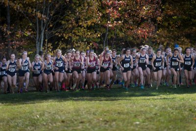NEW GLOUCESTER, Maine -- The No. 24 nationally ranked Bates women's cross country team won the Maine State Championship meet  running away Saturday, with its top five runners all placing within the top 12 overall at Pineland Farms.  Bates scored 29 points to outpace runner-up Bowdoin (41) by 12. Colby was third (83), followed by Southern Maine (94), St. Joseph's (164), UMaine-Farmington (168), Maine Maritime (225), Unity (240) and UMaine-Presque Isle (261).   Bates' score is the best since Colby's 23 points in 2010. Following two straight third-place finishes, it is the program's third state championship in the past five years and fourth ever since the women's meet began in 1979.  Bowdoin's Sarah Kelley prevailed in a close charge to the finish line to win the overall title in 18:38.3. But Bates shuttled in the next three finishers, as senior Jessica Wilson (18:42.9), junior Katherine Cook (18:45.7) and sophomore Katie Barker (18:50.5) came in second, third and fourth place. Wilson (Cumberland, Maine), who has led the Bobcats in each race this season, placed 12th at the state meet a year ago.  Wilson, Cook (South Burlington, Vt.) and Barker (Burlington, Vt.) all earned their first All-State honors in cross country, going to the first seven individuals.  Senior Molly Chisholm (Wayland, Mass.) finished eighth out of 116 runners, covering Bates' home 5-kilometer course in 19:09.3; junior Mary Szatkowski (Buxton, Maine) placed 12th in 19:23.9 to round out Bates' scoring. Bates' displacers were first-year Olivia LaMarche (Lynnfield, Mass.) in 16th place (19:32.9) and sophomore Sarah Rothmann (North Andover, Mass.) in 17th (19:43.5).  Two more Bobcats were also in the top 20 overall, as sophomore Ayden Eickhoff (Corvallis, Mont.) took 18th (19:48.2) and sophomore Wendy Memishian (Medway, Mass.) came in 20th (19:50.9).