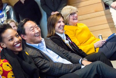 Elizabeth Kalperis Chu '80 and Michael Chu '80 are flanked by student speaker Kukzaiishe Mapfunde '19 of Harare, Zimbabwe, and President Clayton Spencer at the naming celebration Friday afternoon. (Josh Kuckens/Bates College)