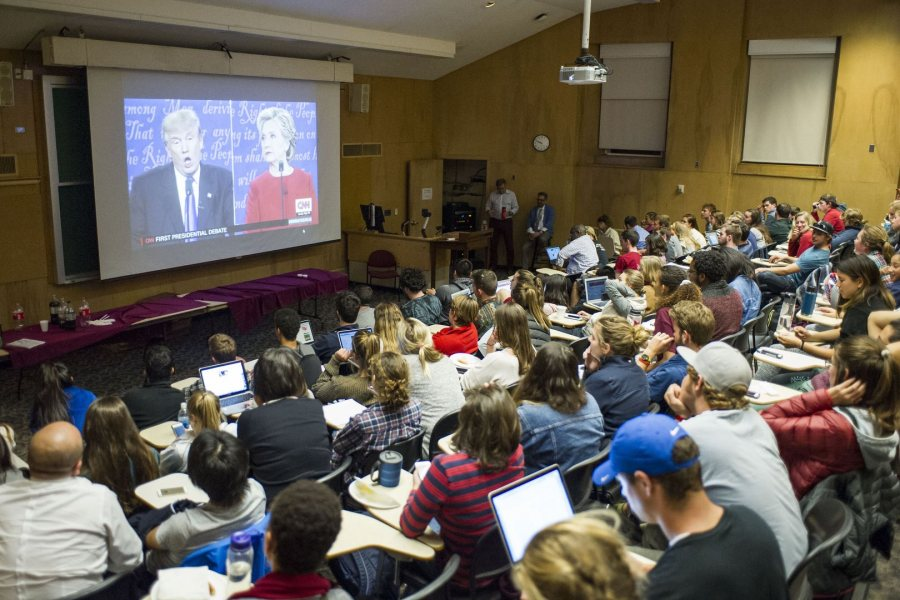 Students watch the Trump vs. Clinton debate in Pettigrew's Filene Room. (Josh Kuckens/Bates College)