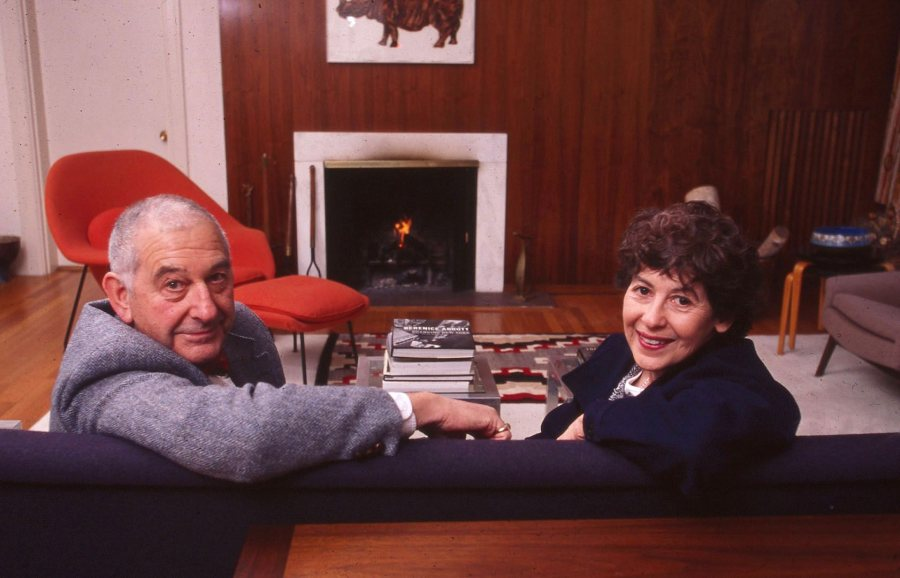 Marcy and Leonard Plavin pose for a portrait at their Mountain Avenue home in 1999. (Phyllis Graber Jensen/Bates College