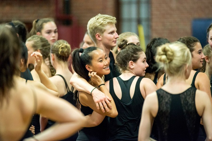 Bates Dance Festival students perform in a July 26 showcase in Alumni Gymnasium. (Josh Kuckens/Bates College)