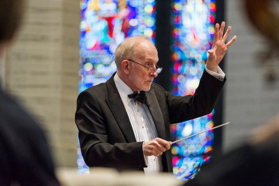 Shown in April 2016, John Corrie directs the Bates College Choir. (Josh Kuckens/Bates College) In a major community collaboration conducted by John Corrie, the Bates Orchestra and Choir join other L-A ensembles for ìStill Sea and Fortunate Journeyî and the masterpiece ìMissa Solemnis.î Featured with Bates are the Maine Music Society Chorale and Orchestra, the Scola of the Basilica of SS Peter & Paul, and the Edward Little High School and Lewiston High School choirs.