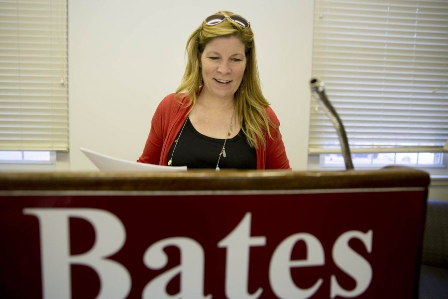 Associate Professor of Rhetoric Stephanie Kelley-Romano announced the (not real) smallpox outbreak. (Phyllis Graber Jensen/Bates College)