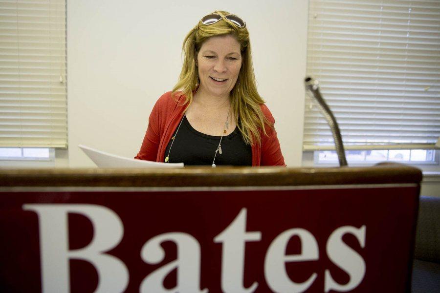 Associate Professor of Rhetoric Stephanie Kelley-Romano announced the (not real) smallpox outbreak. (Phyllis Graber Jensen/Bates College)