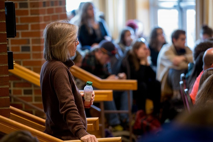 "Environmental studies professor Jane Costlow, foreground, is part of a capacity crowd gathered at the Mays Center on Nov. 9 for the ""What Just Happened?"" panel discussion. (Phyllis Graber Jensen/Bates College)"