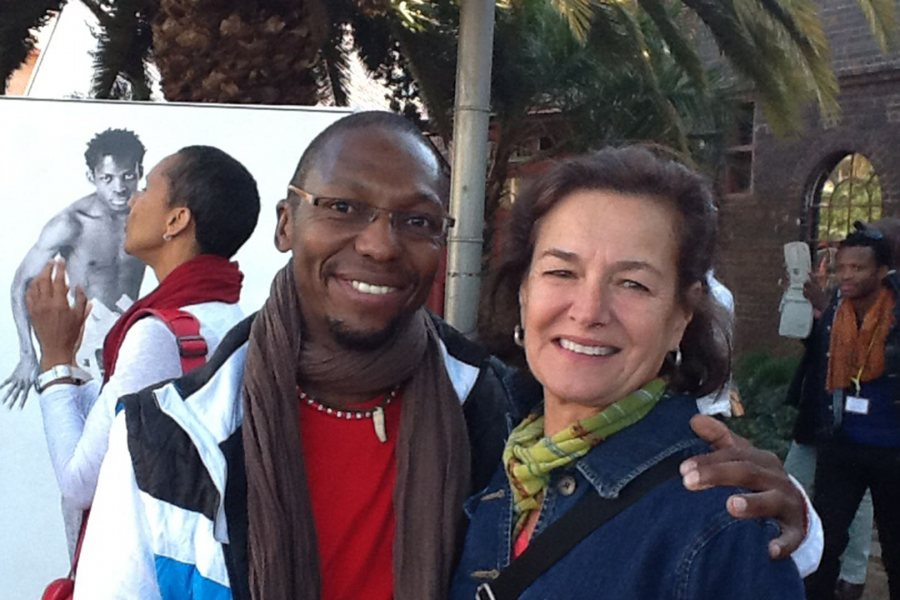 One of South Africa's best-known choreographers and dancers, Vincent Mantsoe poses with Bates Dance Festival Director Laura Faure during one of her visits to Africa. Mantsoe has taken part several times in the festival's International Visiting Artists Program. (Bates Dance Festival)