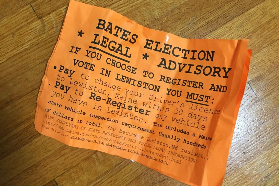 Orange fliers with false voting information posted on campus on Nov. 6 were a deliberate attempt to discourage students from voting, said President Spencer. (Photograph by Sarah Frankie Sigman '18)
