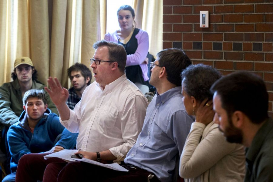 John Baughman, an associate professor of politics, speaks during the Wednesday discussion in the Mays Center. (Phyllis Graber Jensen/Bates College)