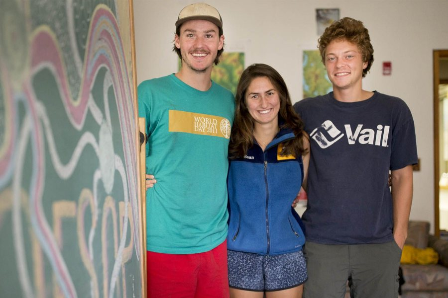 James Karsten '17, shown at left with fellow AESOP trip leaders Audrey Puleio '17 and Nate Diplock '17 in August, was an Green Dot Grad. (Phyllis Graber Jensen/Bates College)