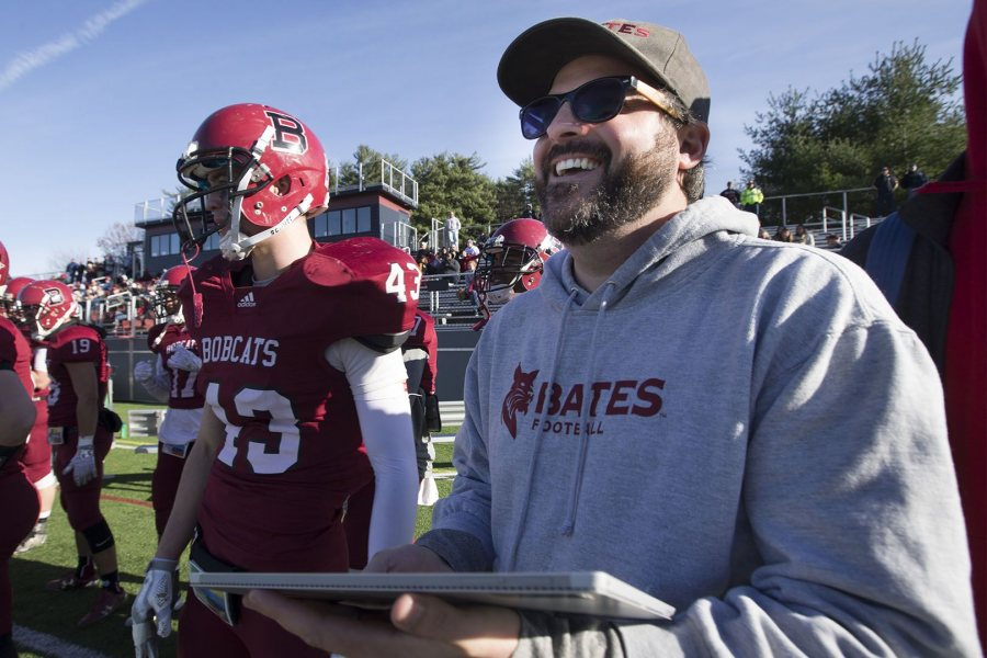 Associate Professor of Sociology Michael Rocque is also the faculty liaison to the Bobcat football team. (Phyllis Graber Jensen/Bates College)