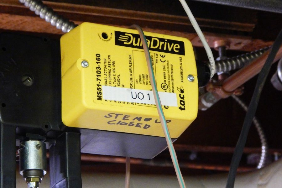 Actuators like this DuraDrive model in Libbey Forum allow Facility Services to remotely open and close heating-system valves. (Doug Hubley/Bates College)