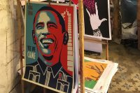 President Obama is prominent in a display of posters for sale in Havana. (Hiroya Miura)