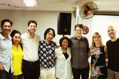 From left: Patrick Castillo, composer and director of Third Sound; composers Wang Lu, Pierre Jalbert, Hiroya Miura, Tania Leon, and Lembit Beecher; International Contemporary Ensemble representatives Alice Teyssier and Ryan Muncy. Leon performed in her native Cuba for the first time in nearly 50 years. (Courtesy of Hiroya Miura)