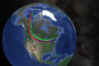 The colored lines indicate the trajectories of the air, now over the NESCAC, from near the North Pole. (Model data from NOAA Air Resources Laboratory)