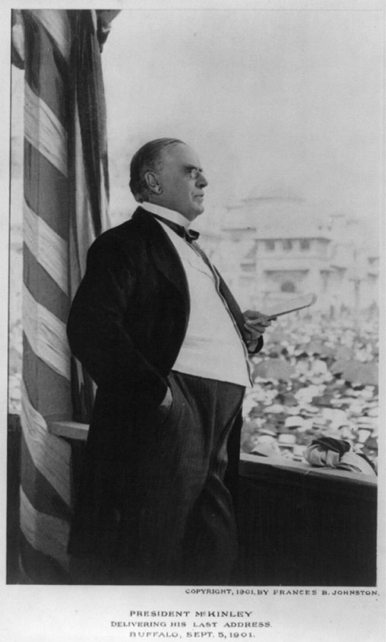 President William McKinley addresses the Pan-American Exposition on Sept. 5, 1901, the day before his assassination. (Frances B. Johnston/Library of Congress Prints and Photographs Division)