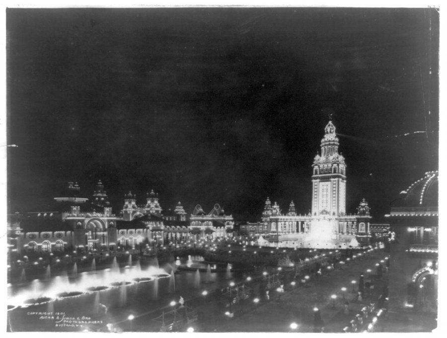 The Pan-American Exposition at night, illuminated by thousands and thousands of incandescent bulbs. (Library of Congress Prints and Photographs Division)