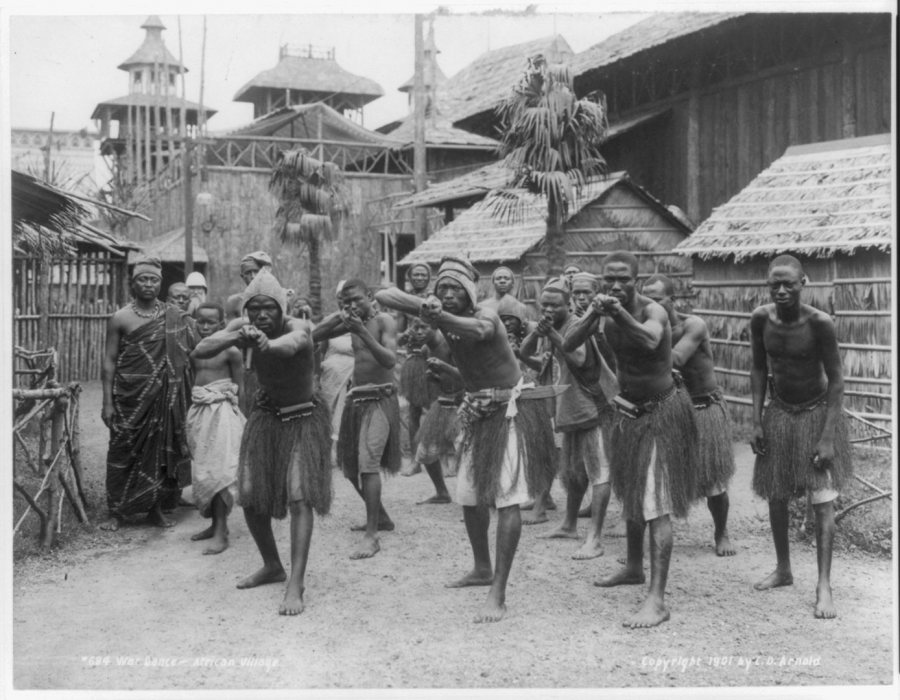 """War Dance — African Village."" The representation of Africans and African Americans at the world's fair drew protests. (C.D. Arnold/Library of Congress Prints and Photographs Division)"